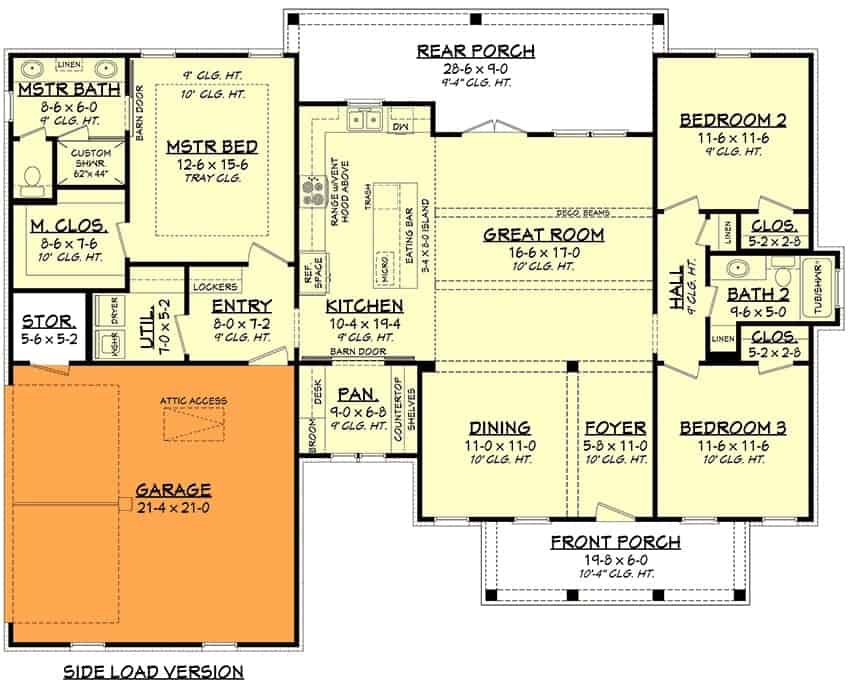 Main level floor plan showing the side-entry garage option.
