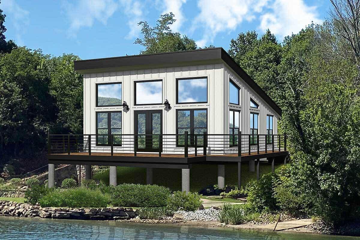Single-Story 1-Bedroom Contemporary Coastal Home with Wraparound Deck