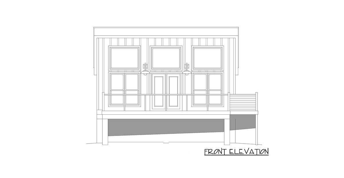 Front elevation sketch of the single-story 1-bedroom contemporary coastal home.