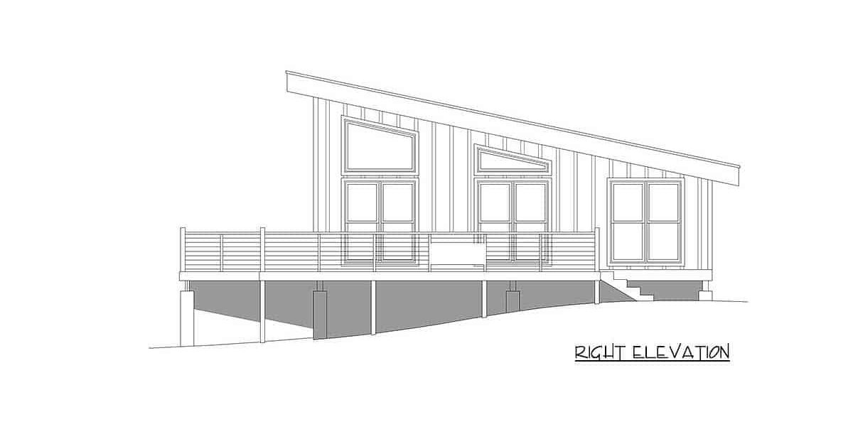 Right elevation sketch of the single-story 1-bedroom contemporary coastal home.