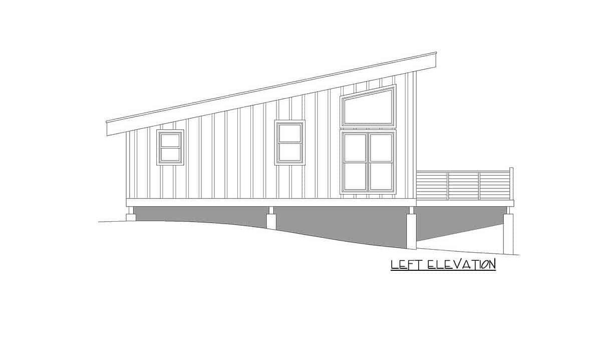 Left elevation sketch of the single-story 1-bedroom contemporary coastal home.