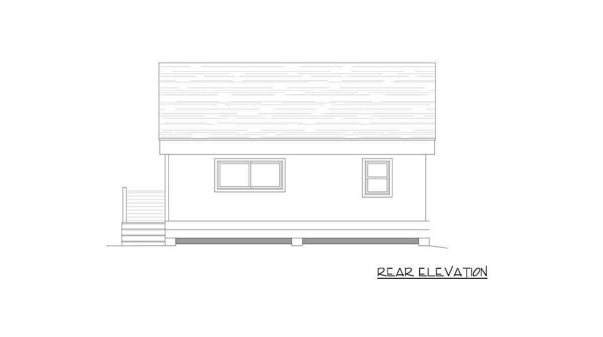 Rear elevation sketch of the single-story 1-bedroom contemporary coastal home.