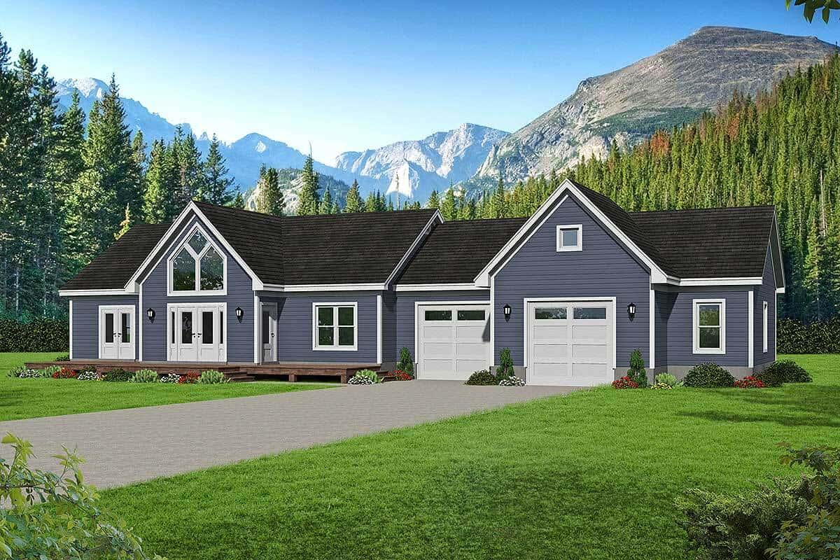 Single-Story 2-Bedroom Country Home with 2 Garage Bays and a Workshop