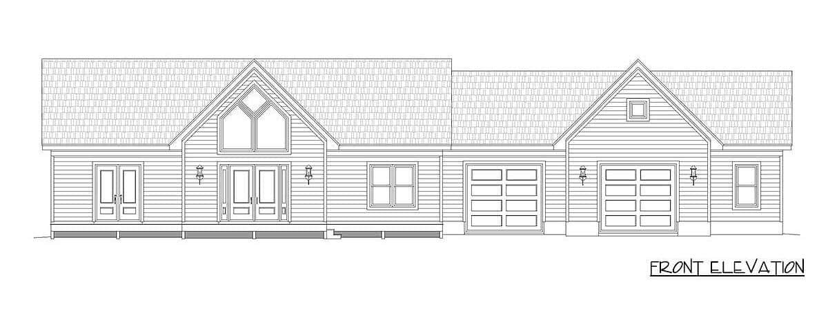 Front elevation sketch of the single-story 2-bedroom country home.