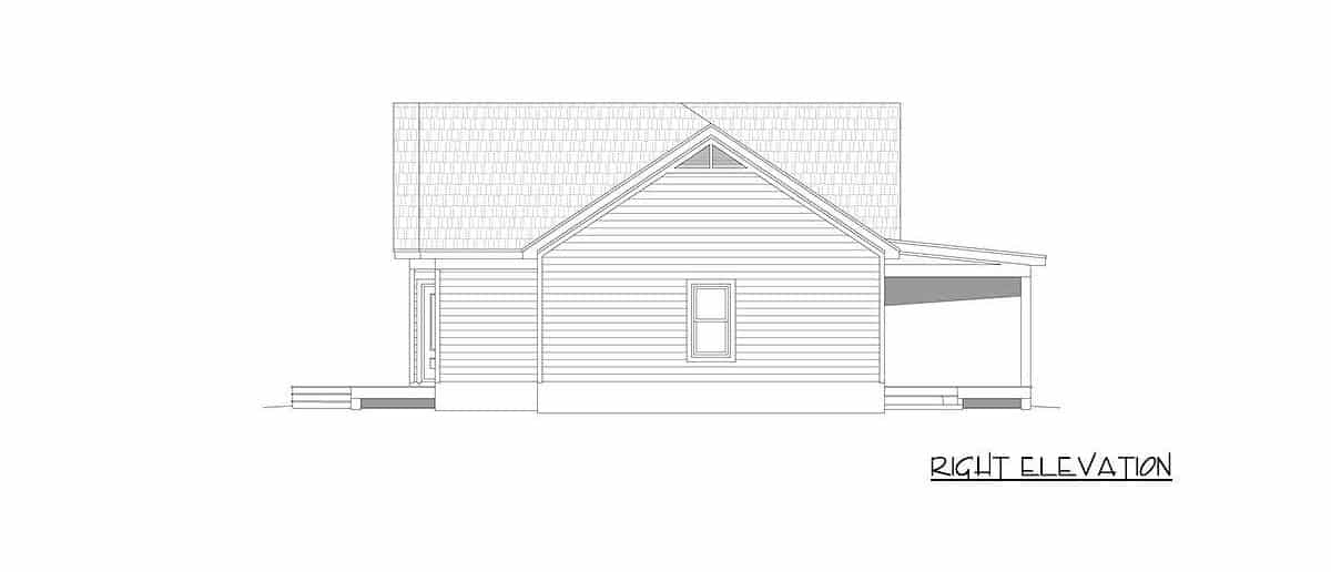 Right elevation sketch of the single-story 2-bedroom country home.