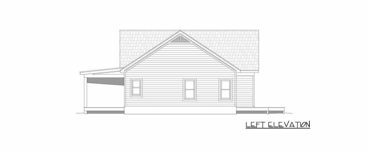 Left elevation sketch of the single-story 2-bedroom country home.