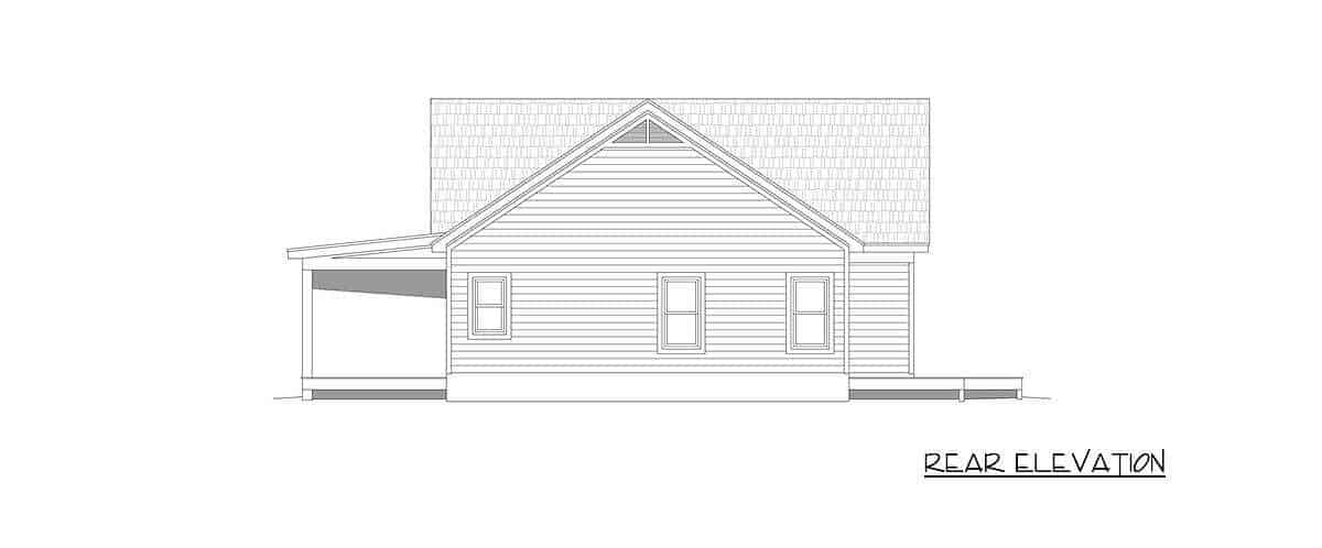 Rear elevation sketch of the single-story 2-bedroom country home.