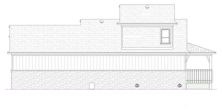 Right elevation sketch of the Dell Wood cottage.
