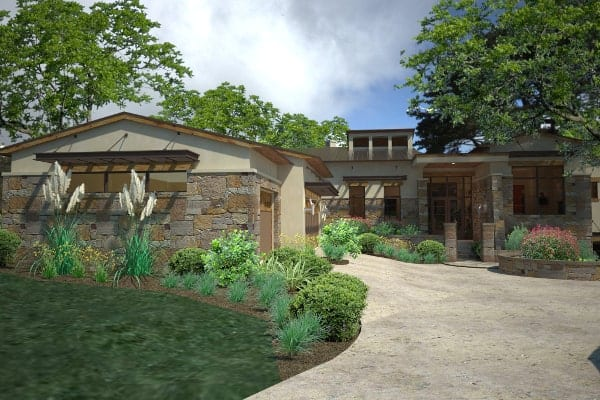 Front rendering of the single-story 3-bedroom contemporary style Santa Catalina home.