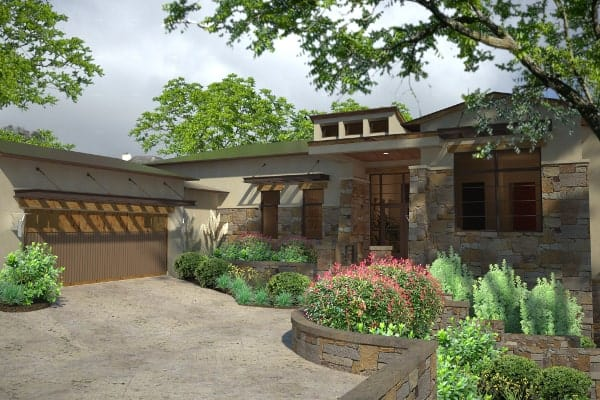 Front-right rendering of the single-story 3-bedroom contemporary style Santa Catalina home.