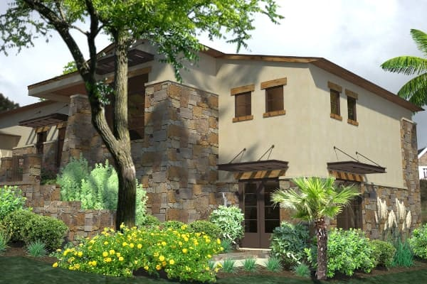 Right rendering of the single-story 3-bedroom contemporary style Santa Catalina home.