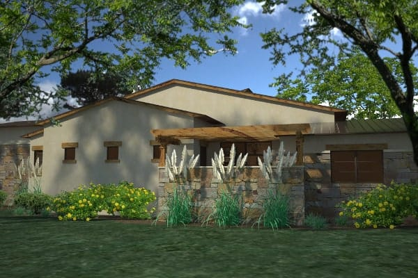 Left rendering of the single-story 3-bedroom contemporary style Santa Catalina home.