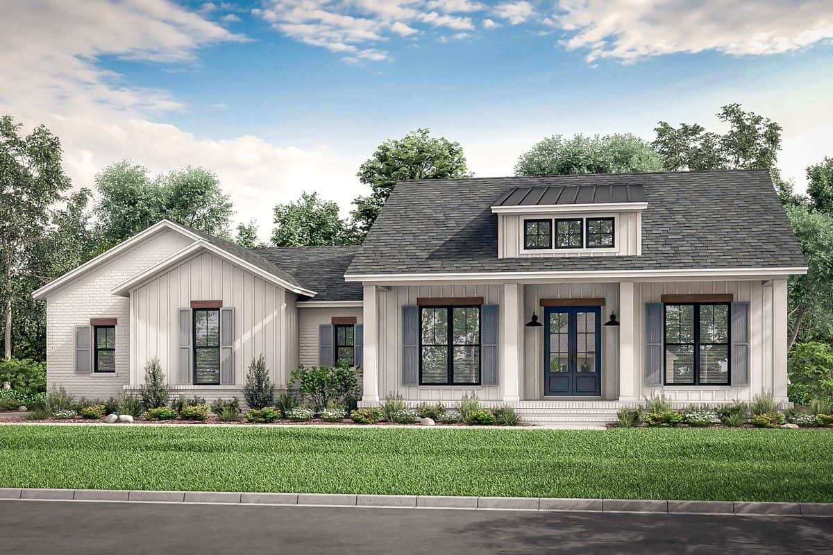 Front rendering of the single-story 3-bedroom country craftsman.