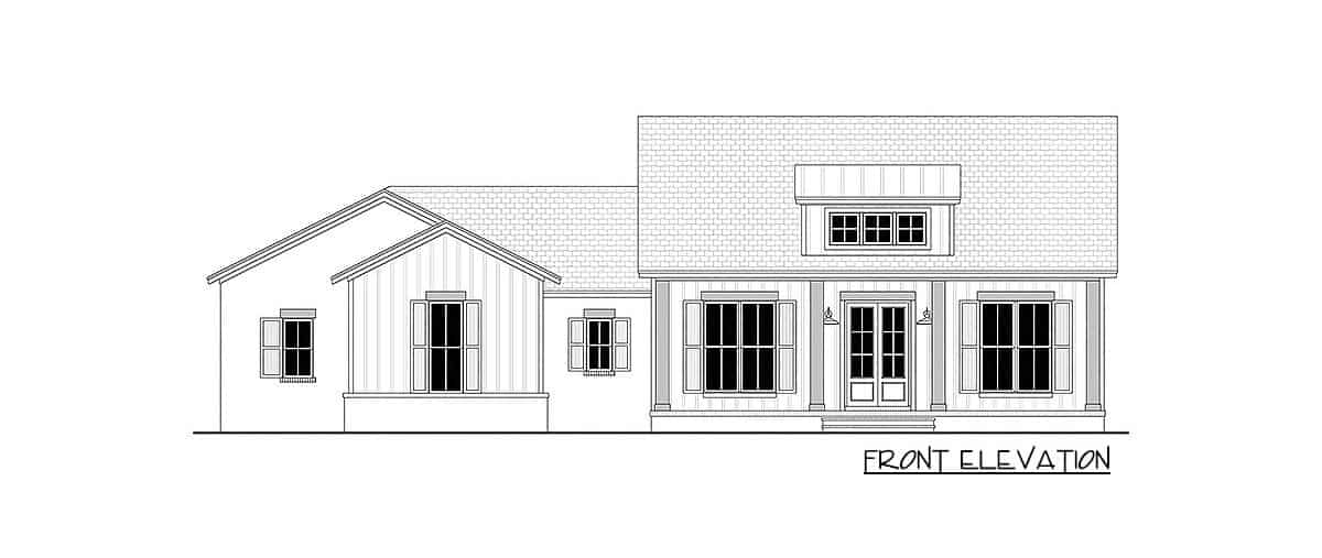 Front elevation sketch of the single-story 3-bedroom country craftsman.