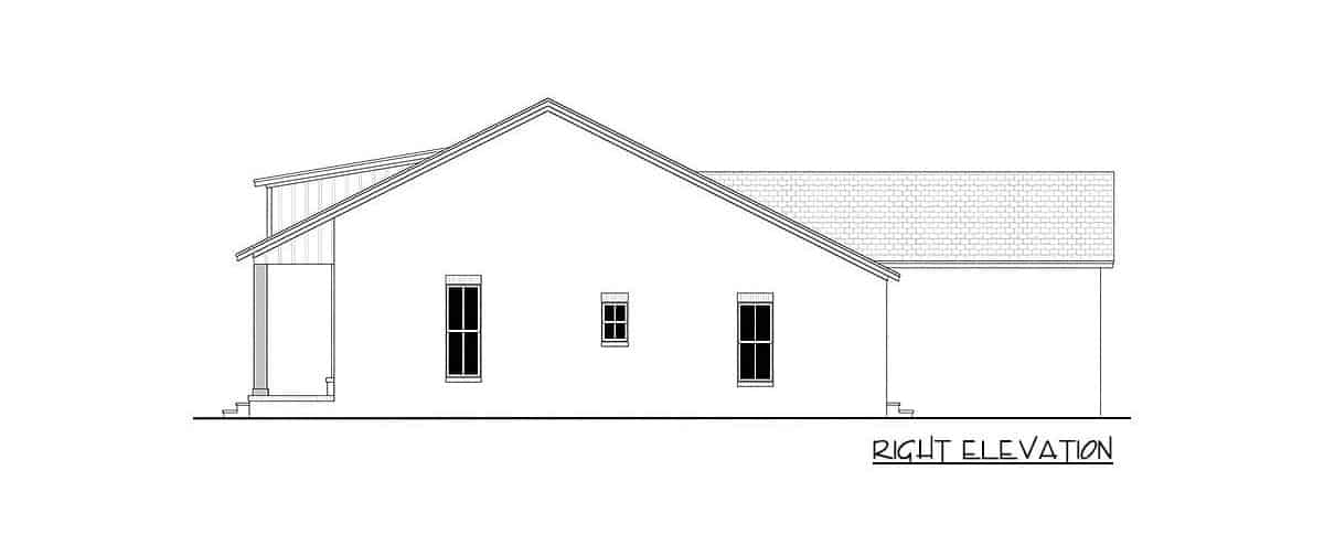 Right elevation sketch of the single-story 3-bedroom country craftsman.