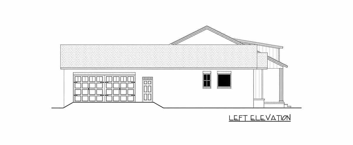 Left elevation sketch of the single-story 3-bedroom country craftsman.