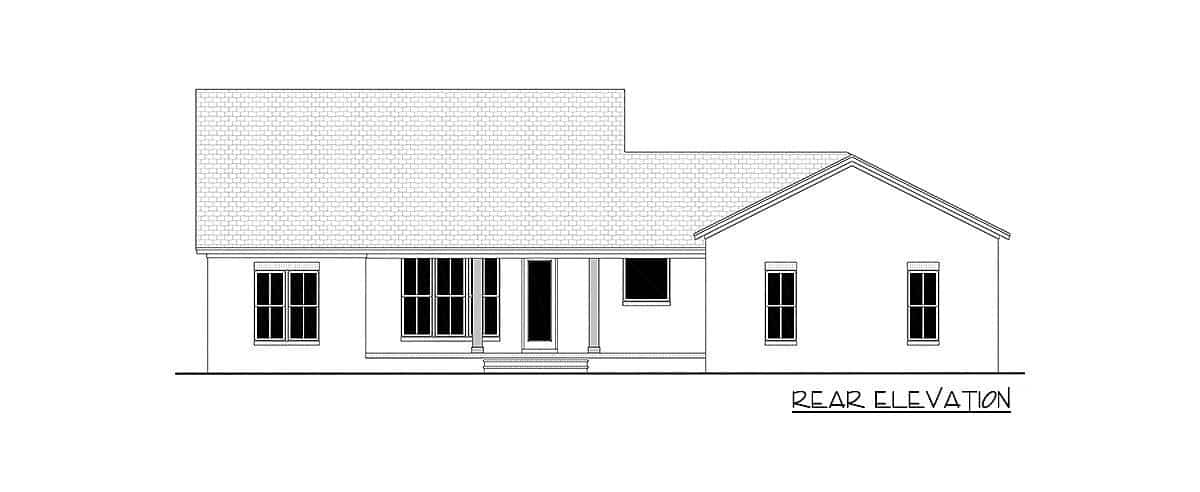 Rear elevation sketch of the single-story 3-bedroom country craftsman.