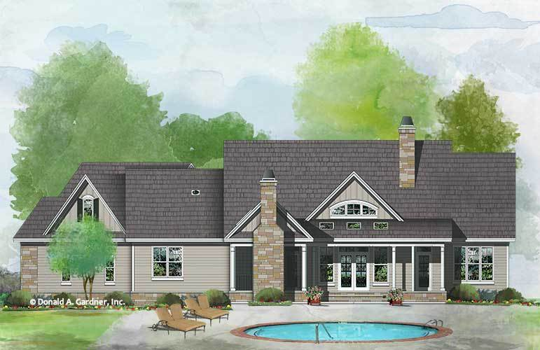 Rear perspective sketch of the single-story 4-bedroom The Atticus craftsman home.