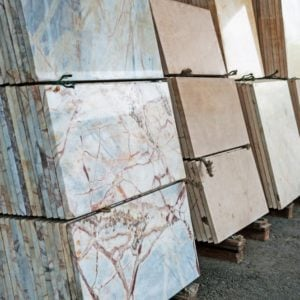 This is a look at various granite slabs on display at a store.
