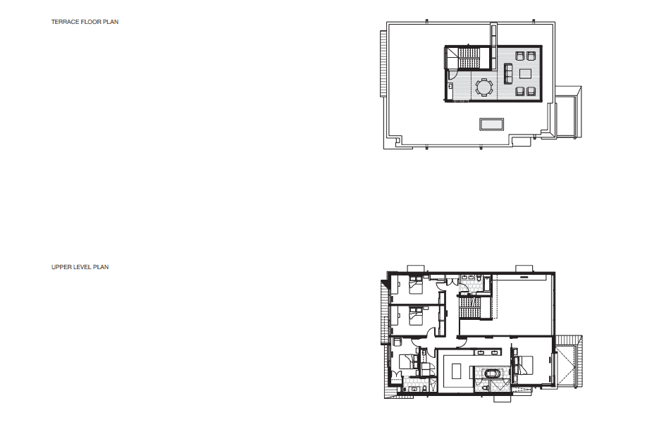 This is an illustration of the upper and terrace level floor plans of the house and its various sections.