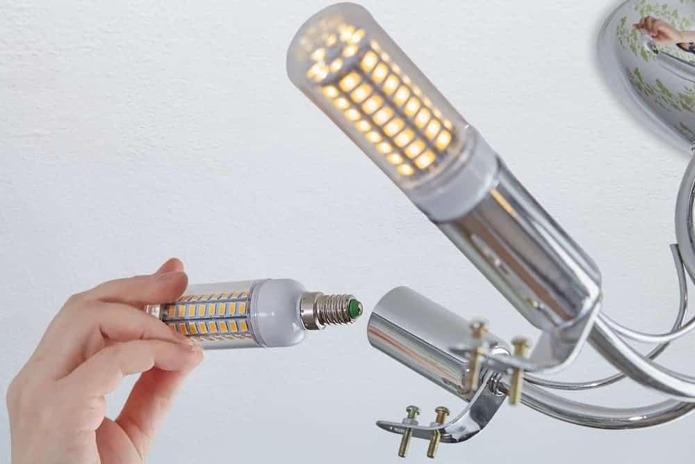 A light fixture with LED corn bulbs.