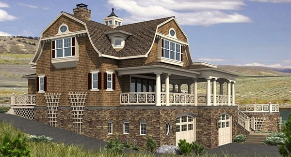 Rear rendering of the three-story 2-bedroom Riverhaven Cape Cod home.