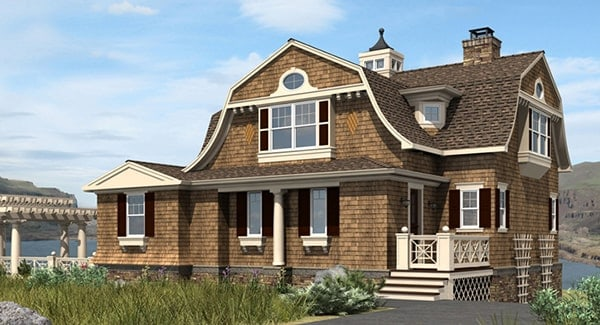 Side rendering of the three-story 2-bedroom Riverhaven Cape Cod home.