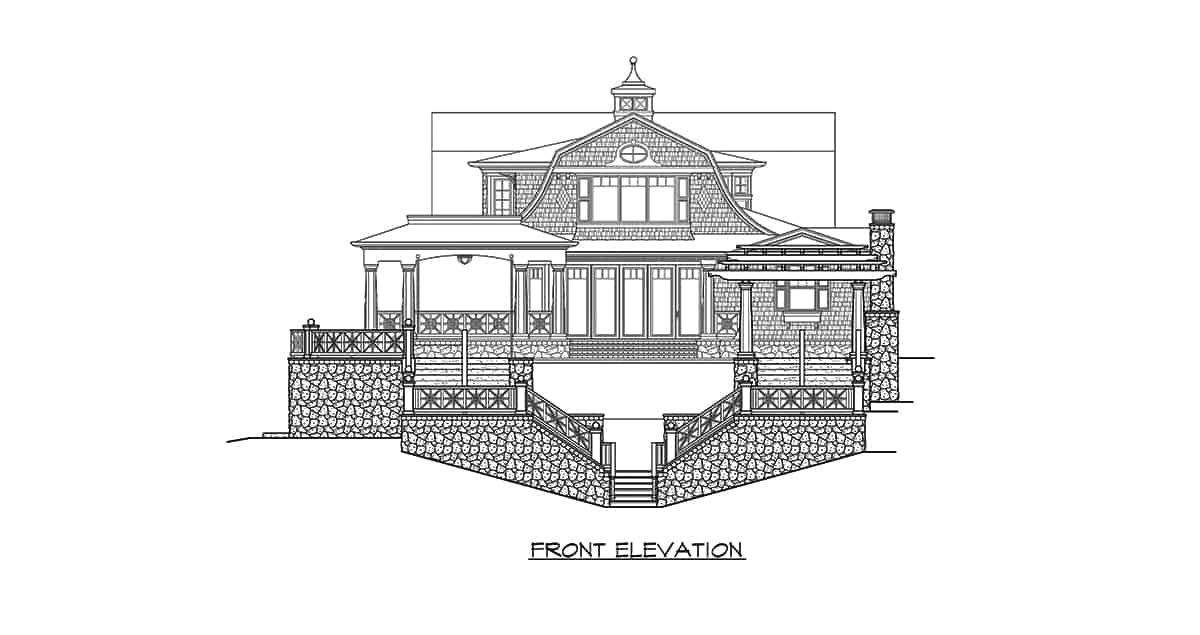 Front elevation sketch of the three-story 2-bedroom Riverhaven Cape Cod home.