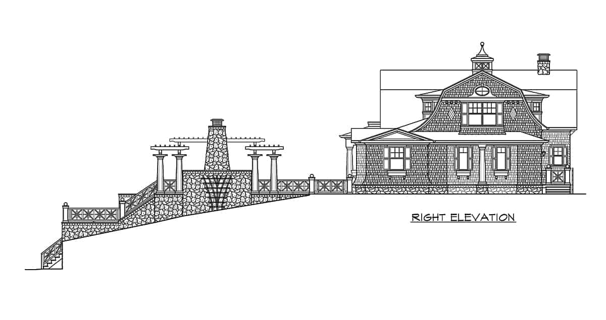 Right elevation sketch of the three-story 2-bedroom Riverhaven Cape Cod home.