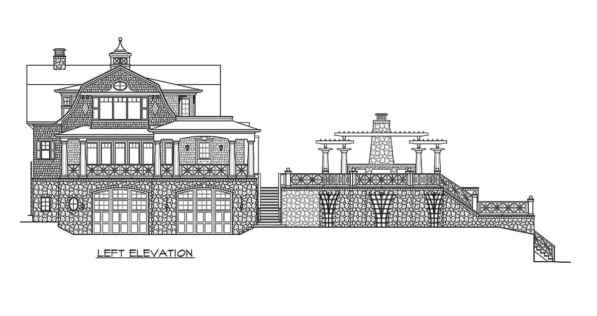 Left elevation sketch of the three-story 2-bedroom Riverhaven Cape Cod home.