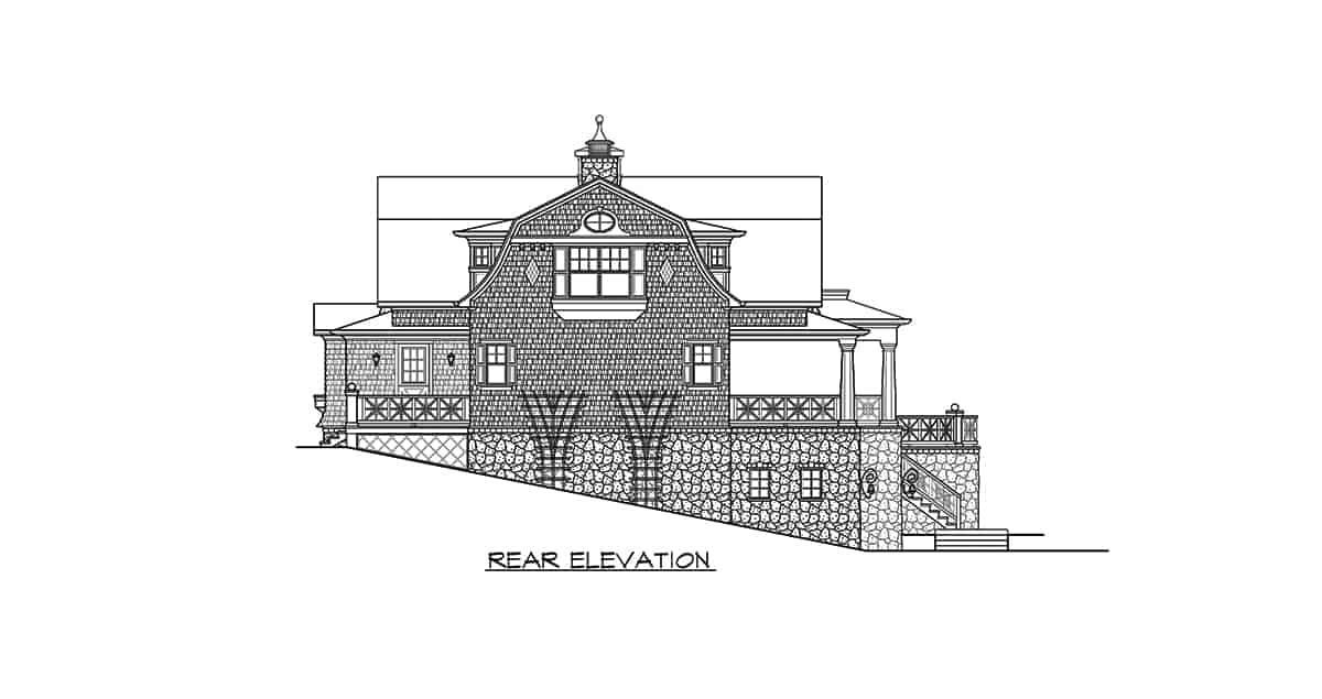 Rear elevation sketch of the three-story 2-bedroom Riverhaven Cape Cod home.