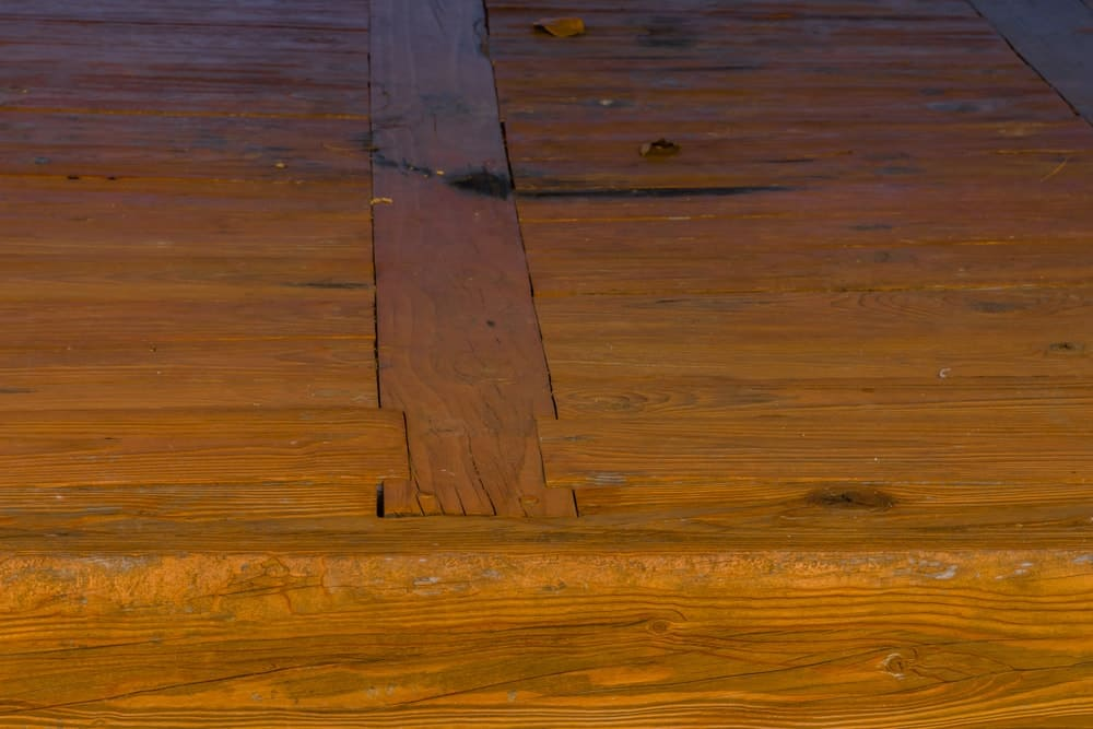 A wooden flooring with tongue and groove joint.