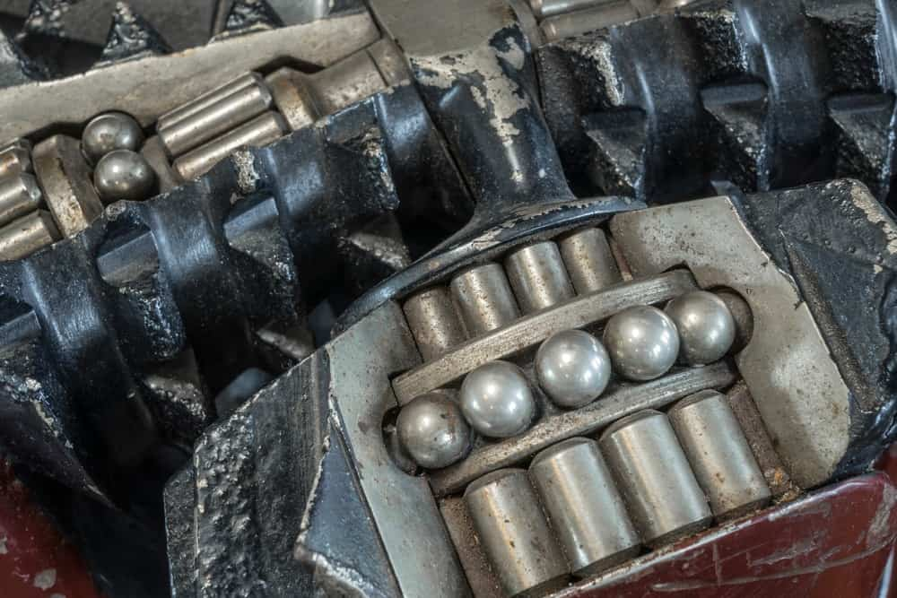 Various tungsten details on a steel equipment.