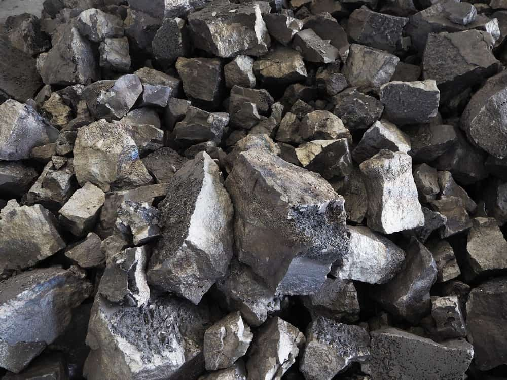A close look at a pile of ferro manganese alloys.