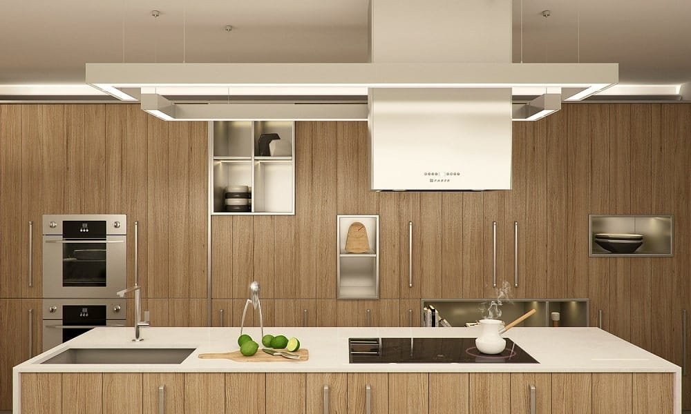 This is the kitchen with consistent wooden tones on its cabinetry and kitchen island that houses the cooking area.