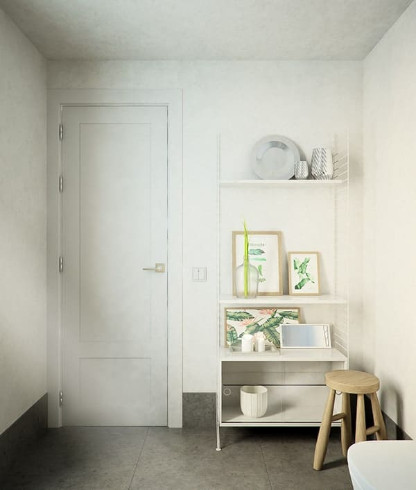 This is the opposite wall of the vanity area with a white door and a wall adorned with various decors and shelves and a wooden stool.