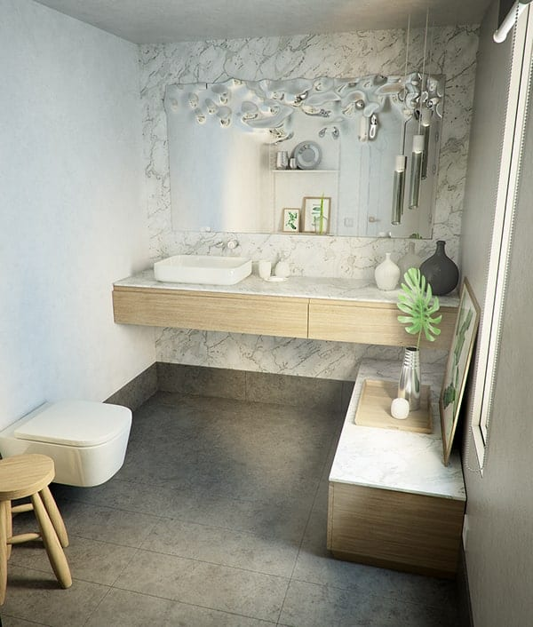 This is a full view of the powder room featuring the modern toilet and the unique water-like design of the vanity mirror.