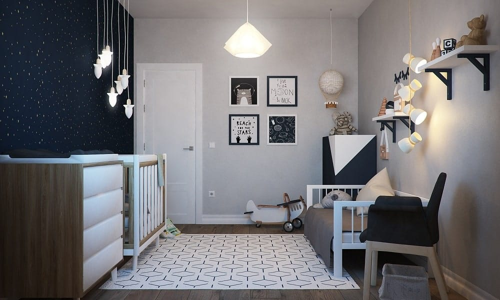 This is the nursery room with dark starry night theme extending to the furniture.