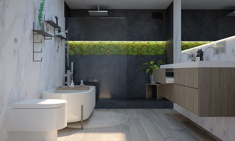 This is the bathroom with a freestanding bathtub near the glass-enclosed shower area that can be seen on the far side of the bathroom.