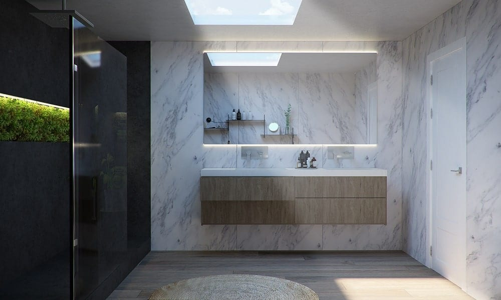 Across from the bathtub is a floating wooden vanity with drawers that stands out against the white marble wall.