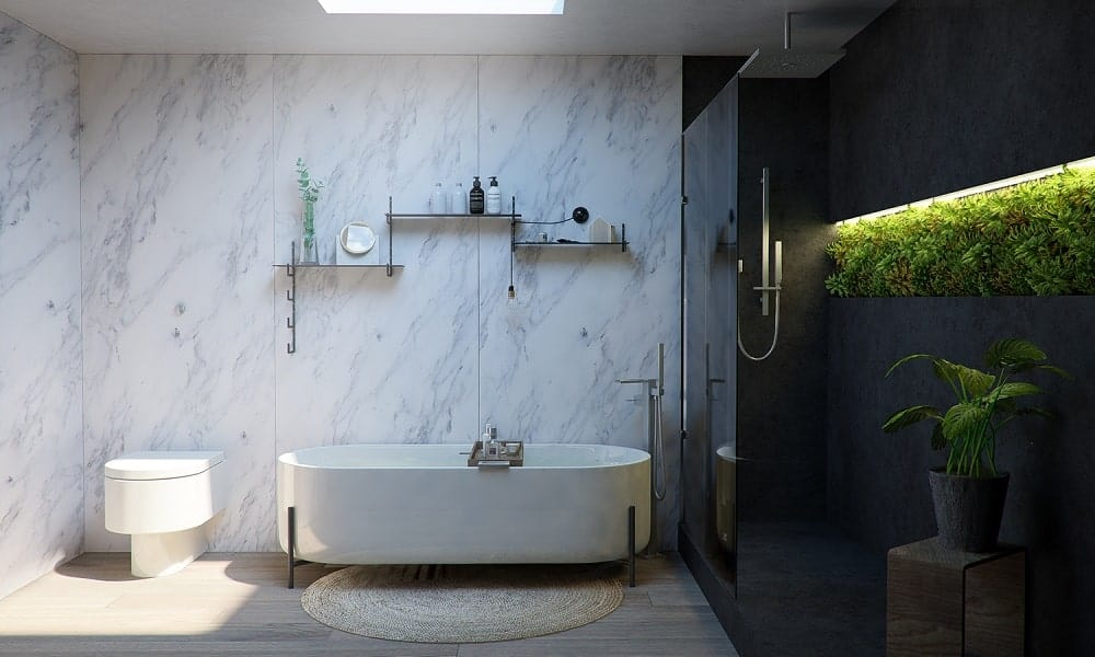 This is a close look at the bathtub with a white marble wall contrasted by the dark glass walls of the shower area on the side.