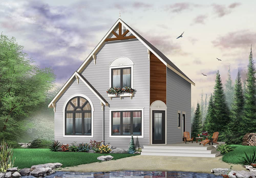 Two-Story 2-Bedroom The Woodlette Country Style Home for a Narrow Lot