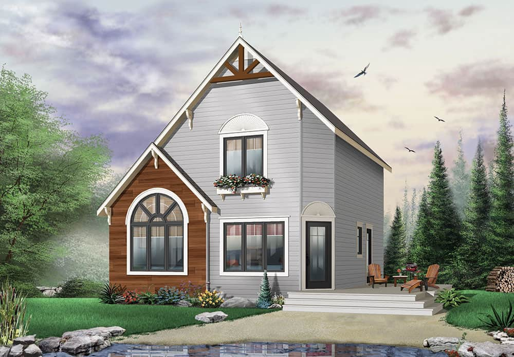 Front rendering of the two-story 2-bedroom The Woodlette country style home.