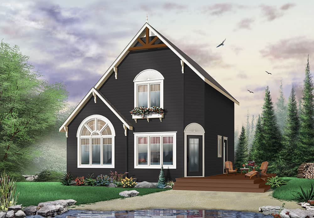 Front rendering of the two-story 2-bedroom The Woodlette country style home with a black alternate exterior.