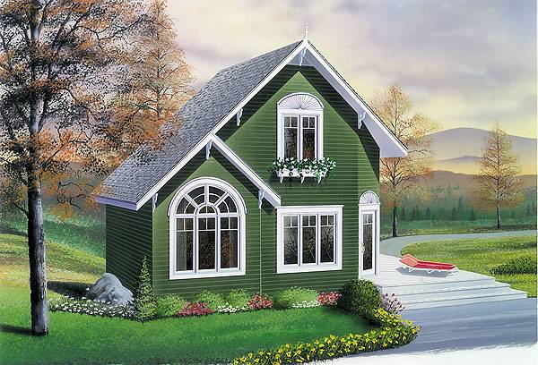 Front rendering of the two-story 2-bedroom The Woodlette country style home with a green alternate exterior.