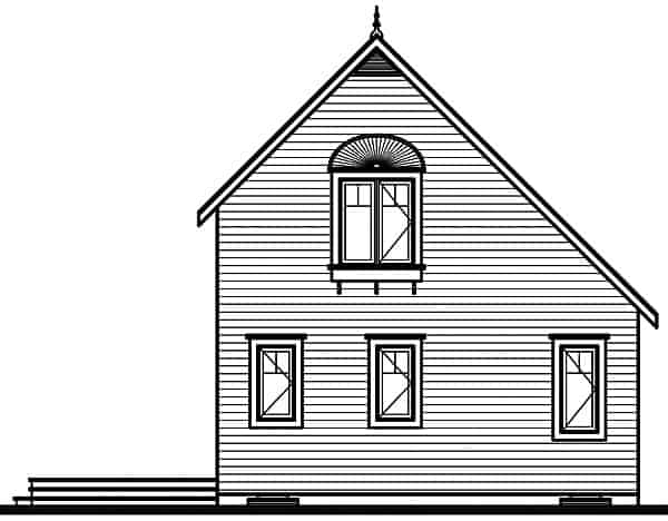 Rear elevation sketch of the two-story 2-bedroom The Woodlette country style home.
