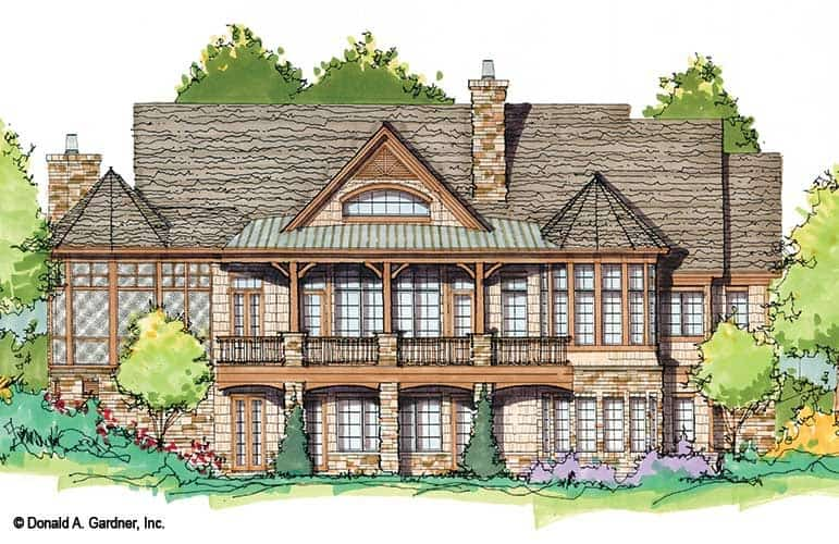 Rear perspective sketch of the two-story 3-bedroom craftsman style home.