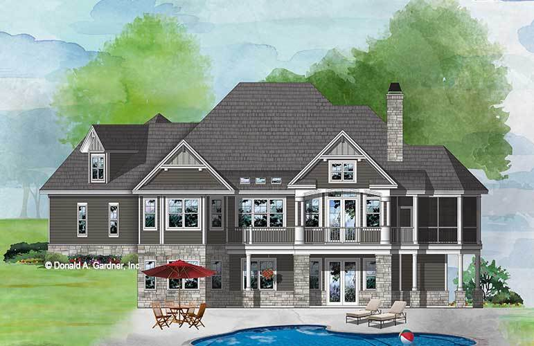 Rear perspective sketch of the two-story 3-bedroom craftsman style The Wesley home.