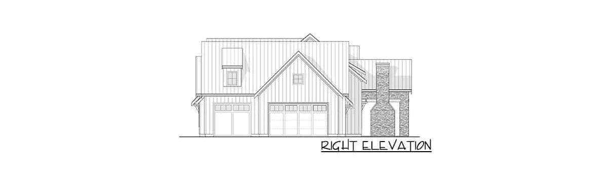 Right elevation sketch of the two-story 3-bedroom modern farmhouse.