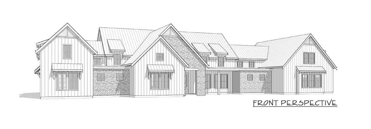 Front perspective sketch of the two-story 3-bedroom modern farmhouse.
